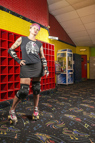 DALLAS, TX 06/28/2016 Holly Stevens poses for a portrait at Thunderbird Roller Rink in Plano, TX on June 28, 2016. Stevens, who moved to Texas from Michigan, had spent years as a competitive skater and active roller derby enthusiast. Credit: Danny Fulgencio